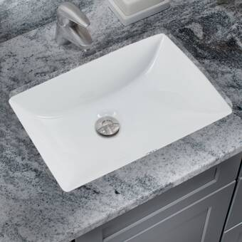 Glazed Vitreous China Rectangular Undermount Bathroom Sink With Overflow