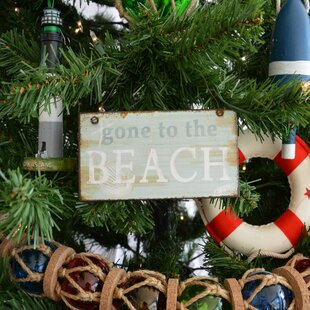 gone to the beach christmas tree shaped ornament