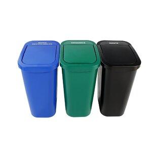 Billi Box Mixed Recyclables And Organics  Gallon Recycling Bin Set