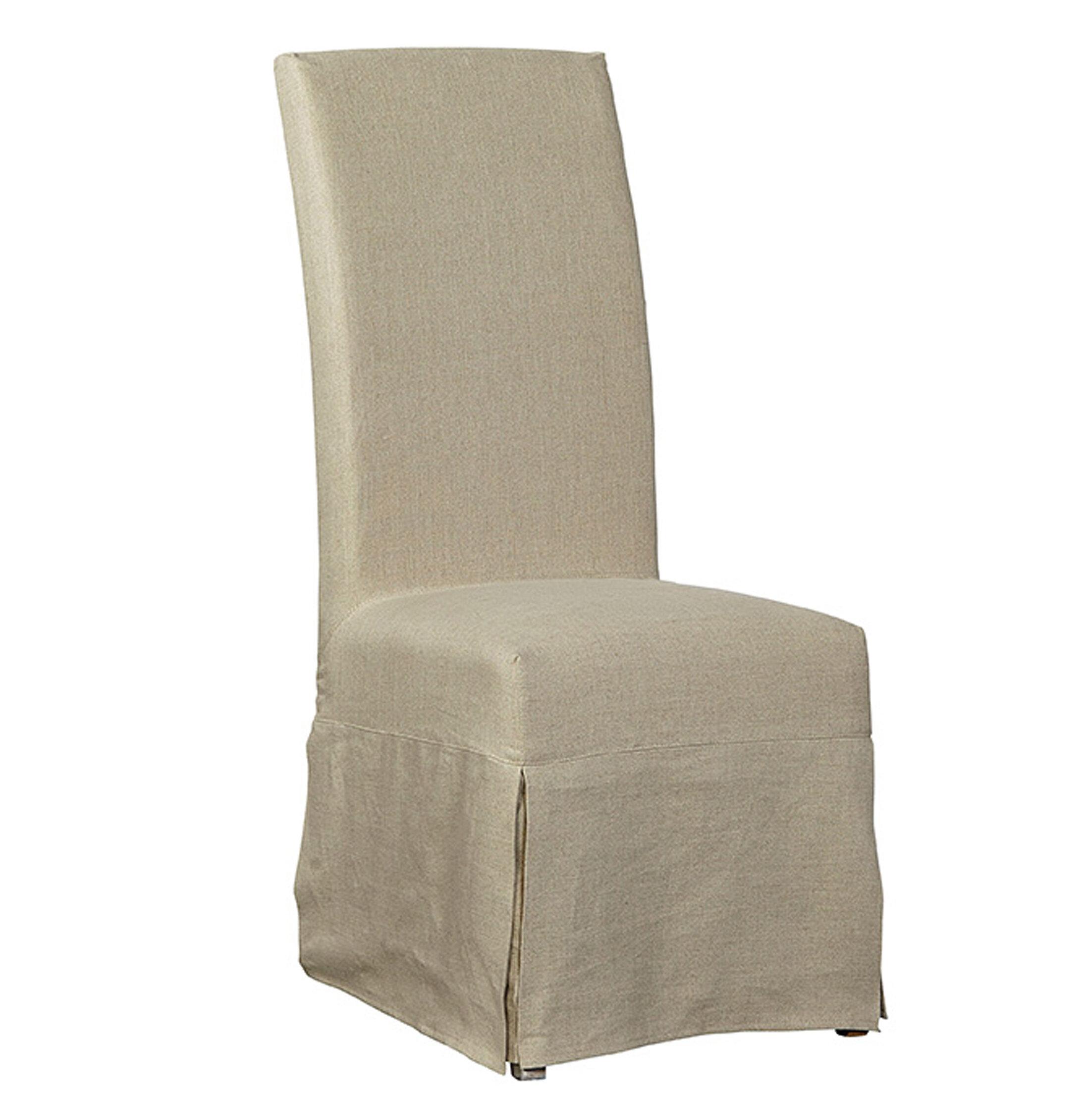 Lovely Furniture Classics Linen Floor Length Slip Covered Upholstered Dining Chair  | Wayfair
