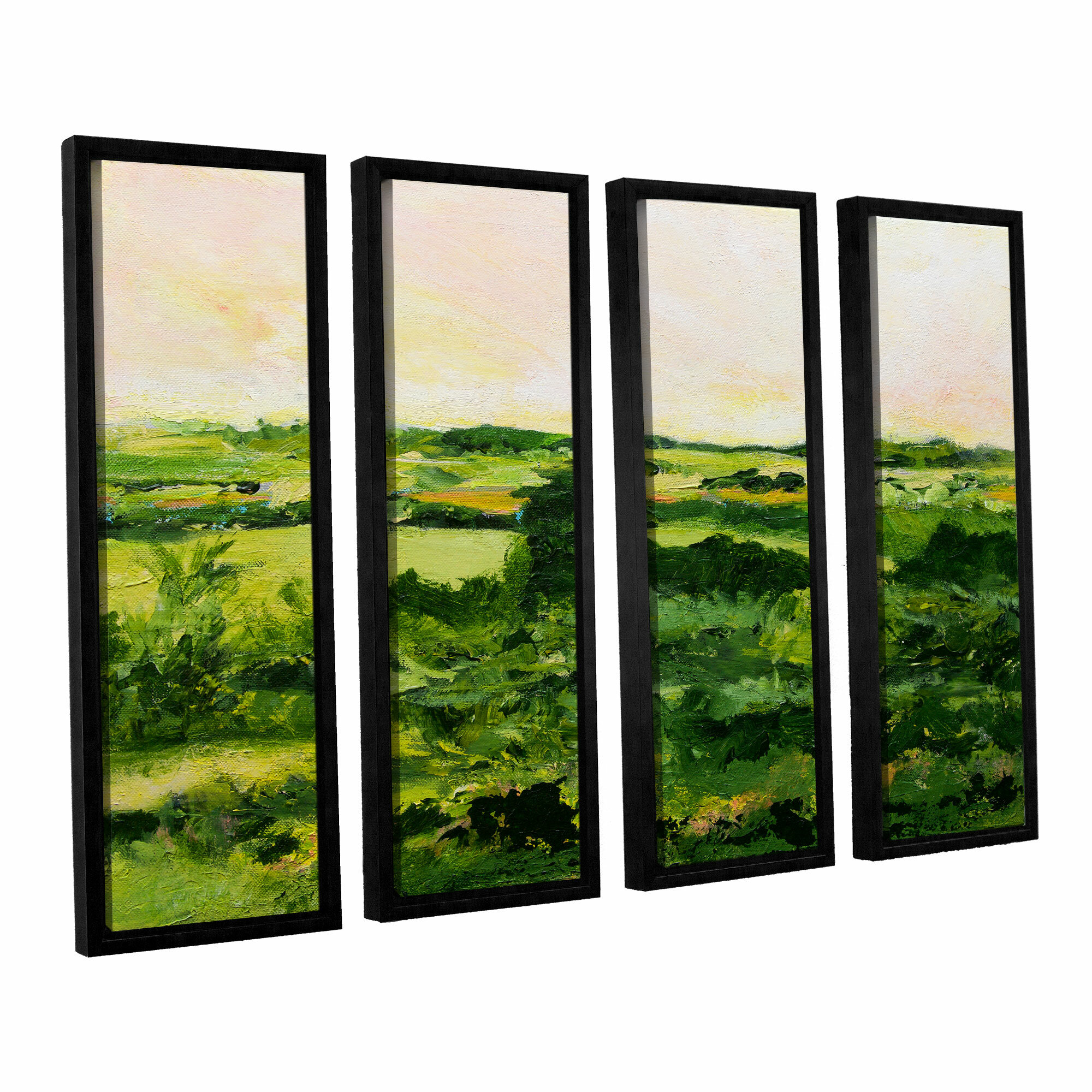 Darby home co perry green 4 piece framed painting print on for Best brand of paint for kitchen cabinets with iron man wall art
