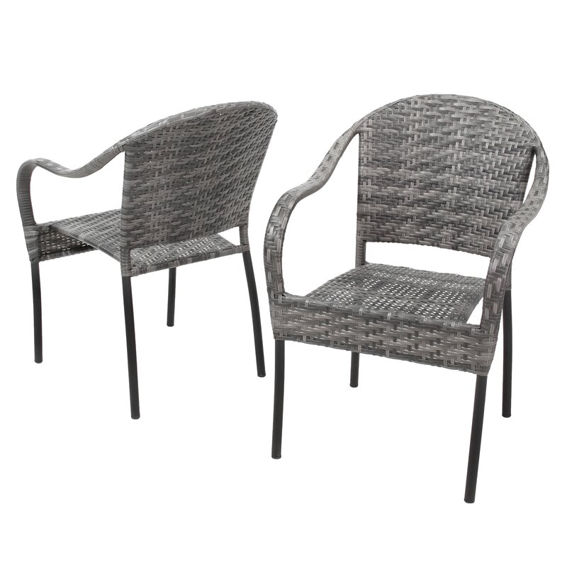 Beachcrest Home Georgie Stacking Patio Dining Chair & Reviews ...