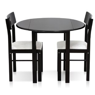 Elegant Cos Drop Leaf Solid Wood 3 Piece Dining Set
