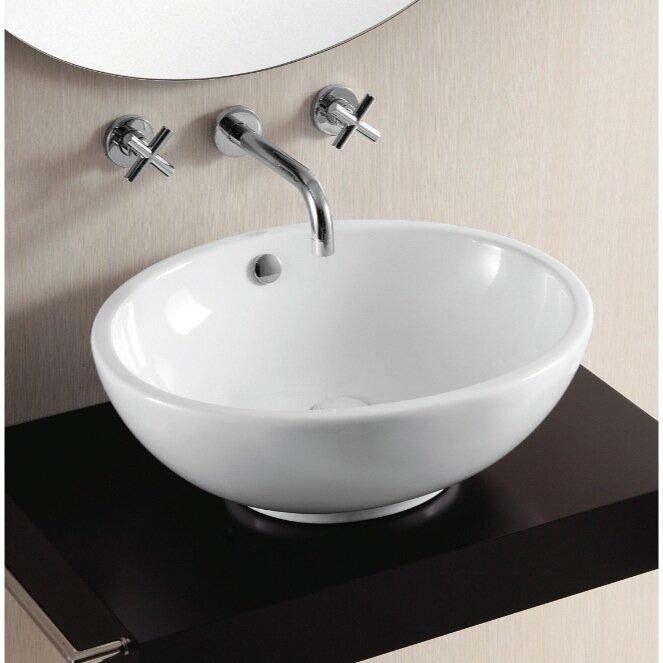 Ceramica II Ceramic Oval Vessel Bathroom Sink with Overflow