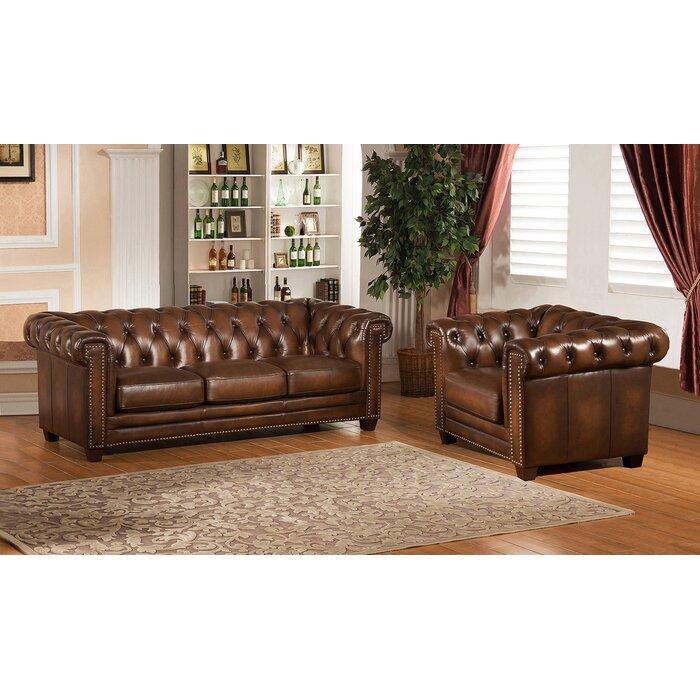 Saffold 2 Piece Leather Living Room Set