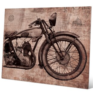 cc15d204aaf06  Vintage Motorcycle Red  Graphic Art Print on Metal