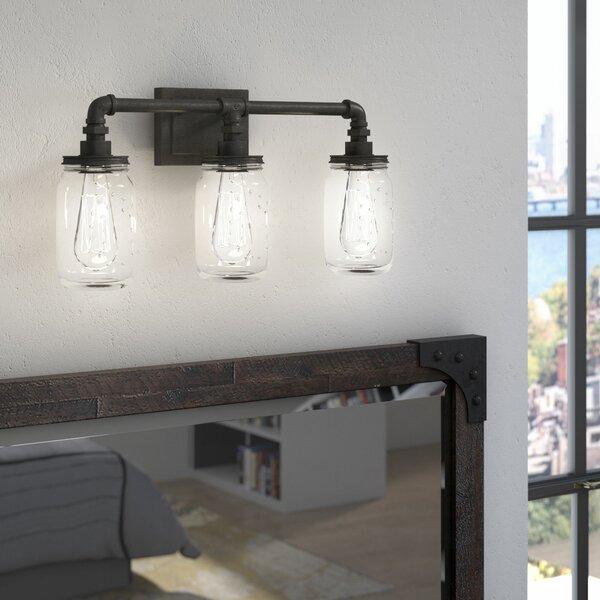 Bathroom Lighting Showroom In Ma: Trent Austin Design Brys Rustic Black 3-Light Vanity Light & Reviews