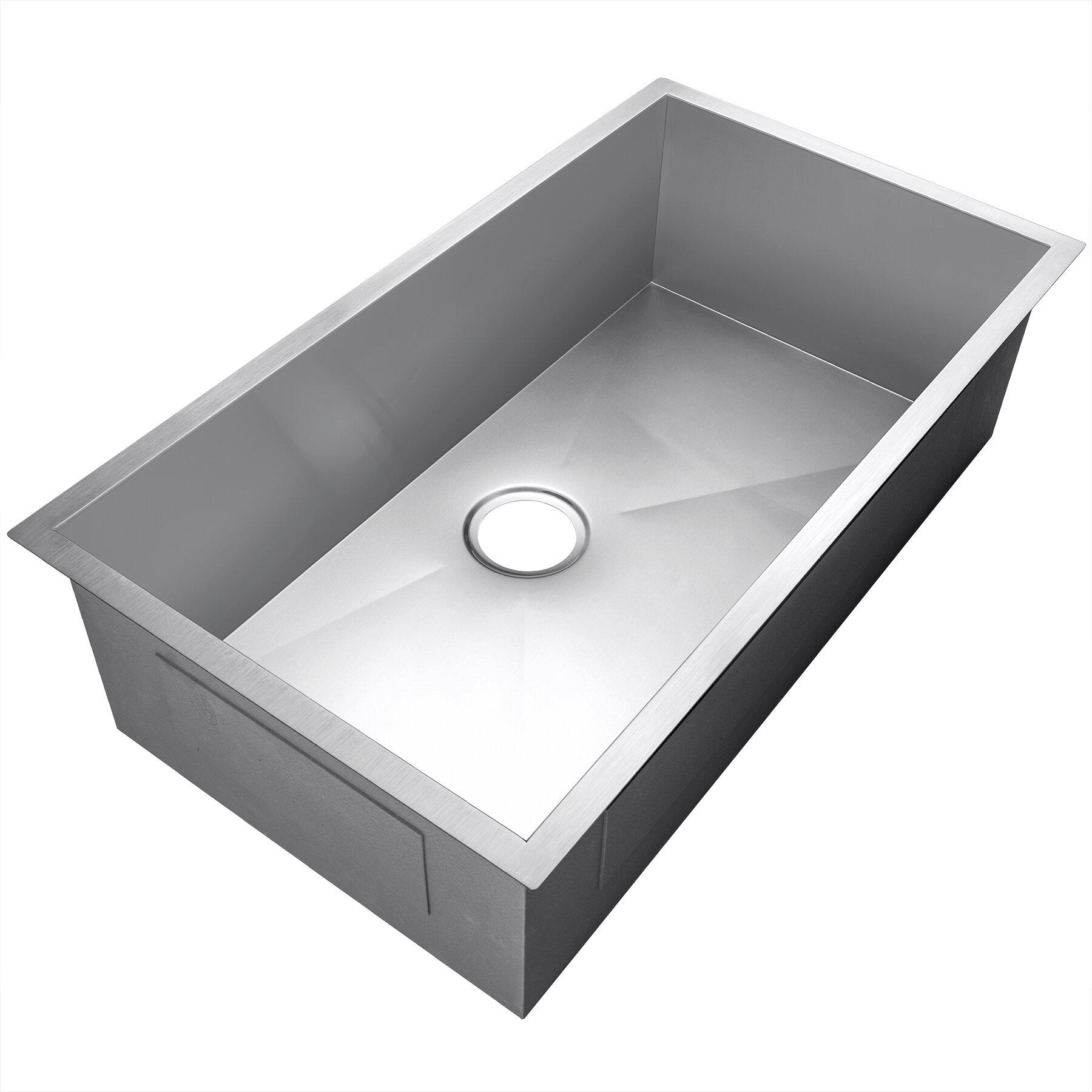33 X 22 Undermount Stainless Steel Single Bowl Kitchen Sink Joss