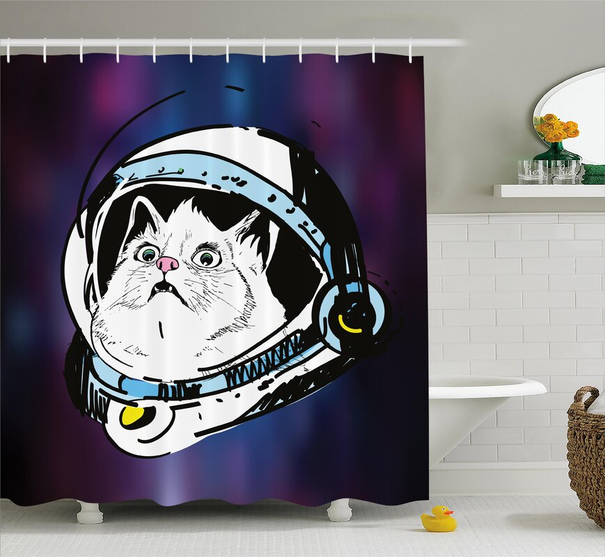 Cat Travelling Space Decor Shower Curtain