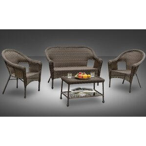 Sophia All Weather Casual Conversation 4 Piece Deep Seating Group