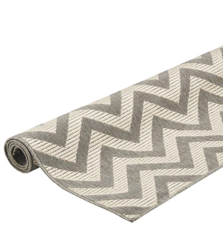 floorita innen und au enteppich zigzag in grau elfenbein. Black Bedroom Furniture Sets. Home Design Ideas