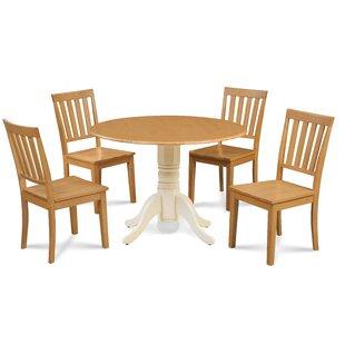 Abner 5 Piece Drop Leaf Solid Wood Dining Set