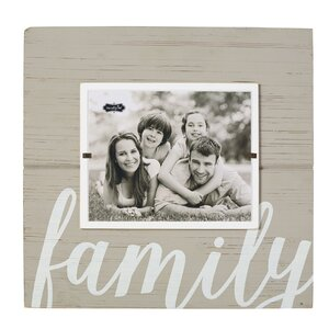 Gray Painted Wood Family Pictured Frame