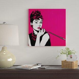 2fbac9e9b77  Audrey Hepburn Pink  Graphic Art Print on Canvas