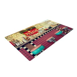 Sylvia Cook Retro Diner Coca Cola Red/Yellow Area Rug