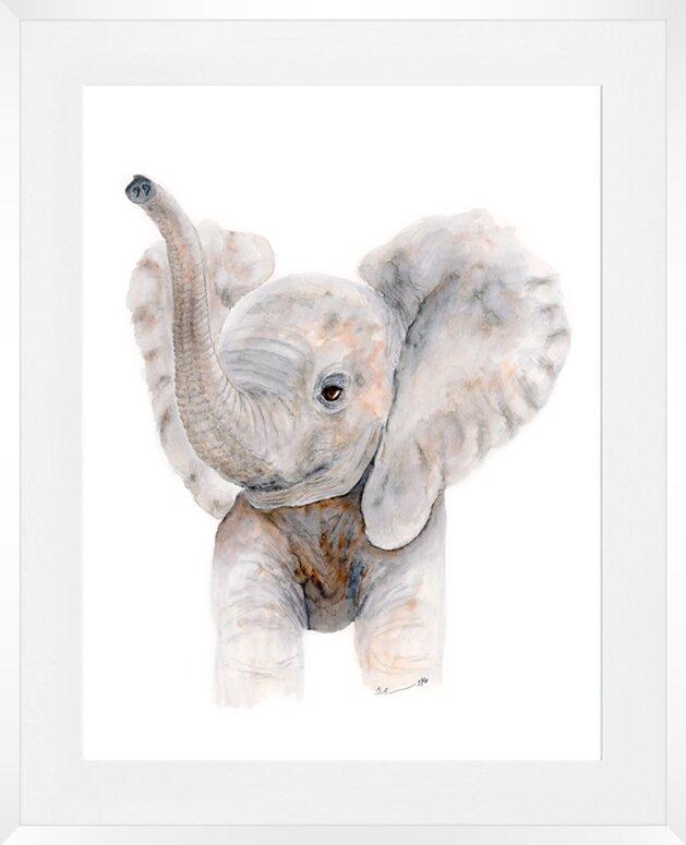 Oopsy Daisy Baby Elephant Trumpet Framed Art & Reviews | Wayfair
