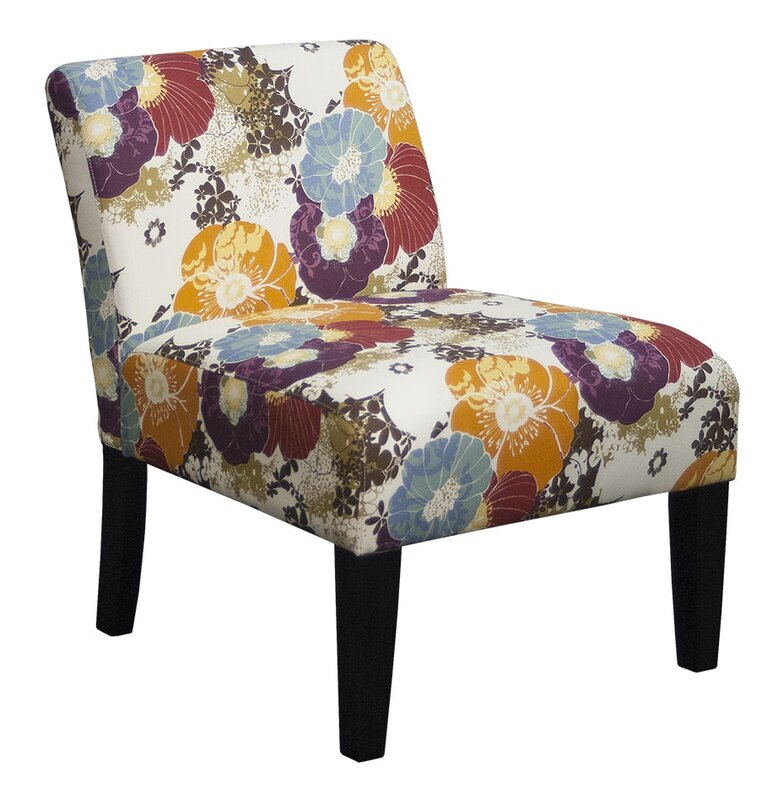 Armless Floral Graffiti Living Room Slipper Chair