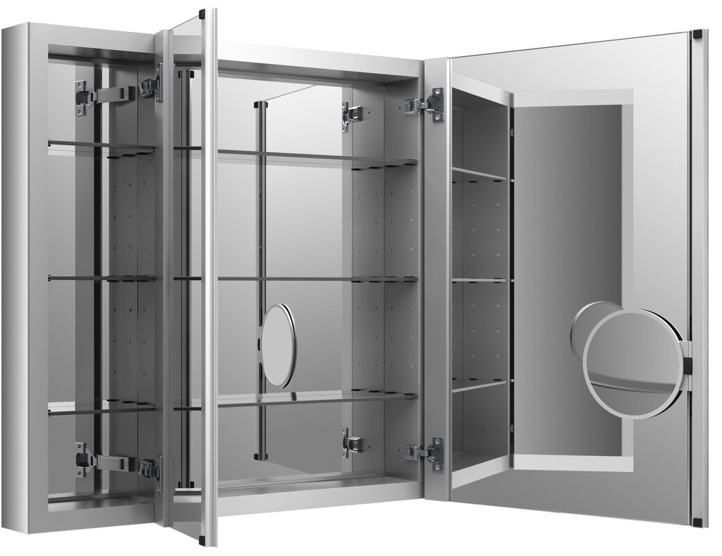 """Illumine Dual Stainless Steel Medicine Cabinet With Lighted Mirror: Verdera 40"""" X 30"""" Aluminum Medicine Cabinet With"""