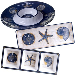 Calm Seas 3 Piece Heavy Weight Melamine Hostess Set