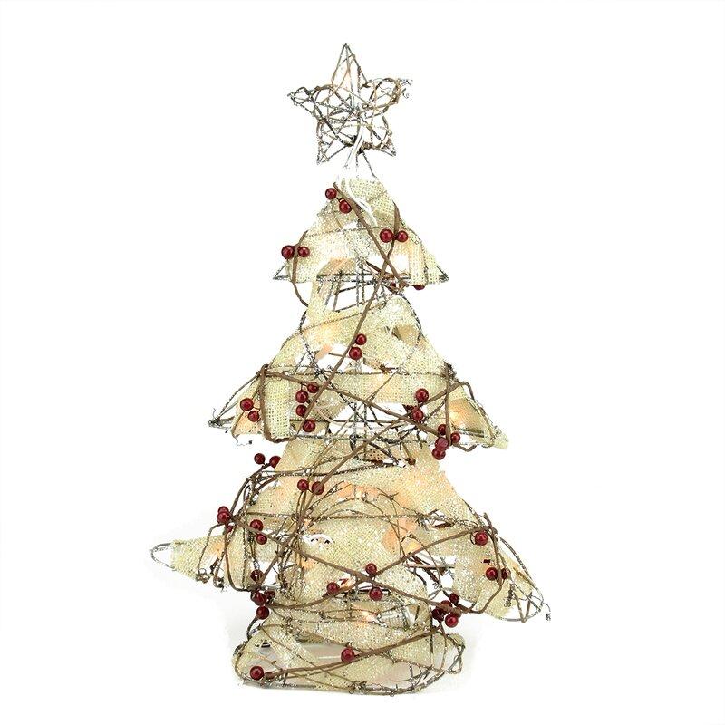 Table Top Lighted Christmas Tree: Northlight Pre-Lit Burlap And Berry Rattan Christmas Tree