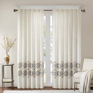 Akemi Border Embroidered Solid Room Darkening Tab Top Single Curtain Panel