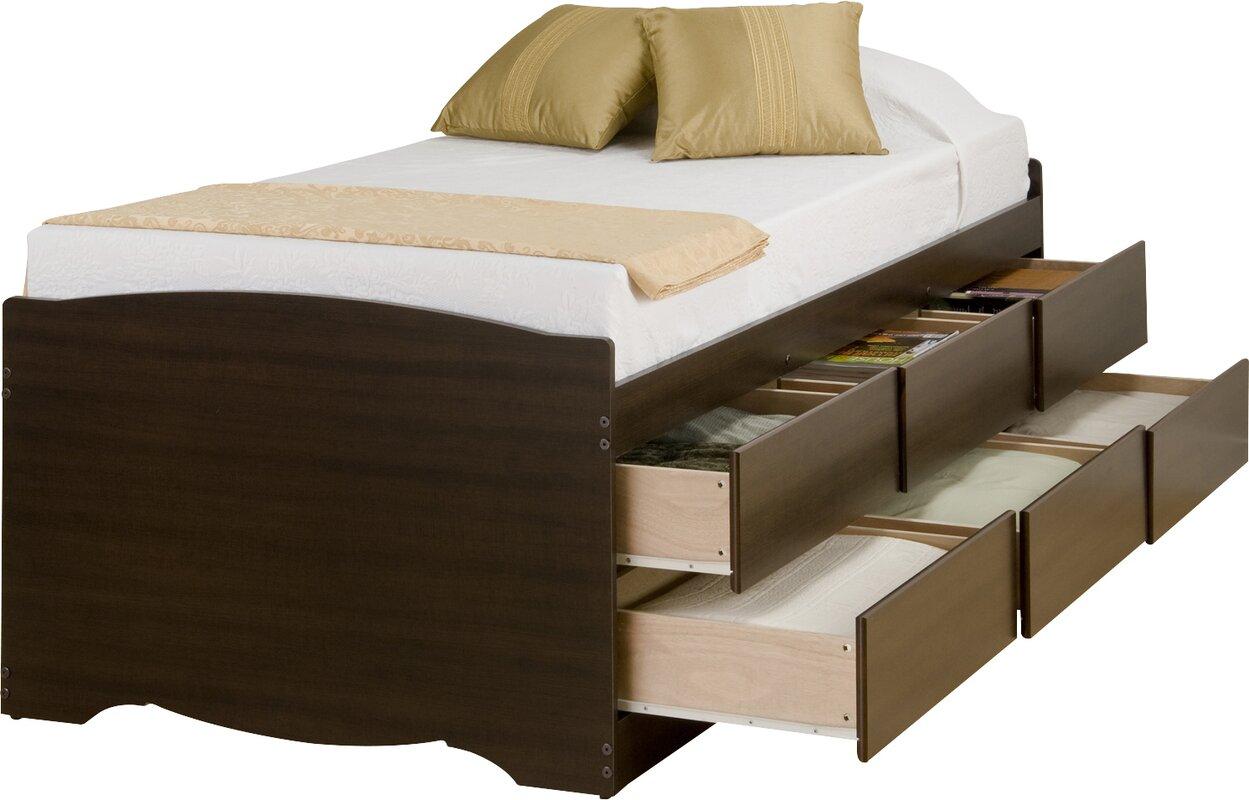 amazoncom pocono 3drawer storage bed with bookcase headboard