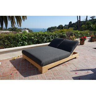 Ater Double Reclining Teak Chaise Lounge With Cushion