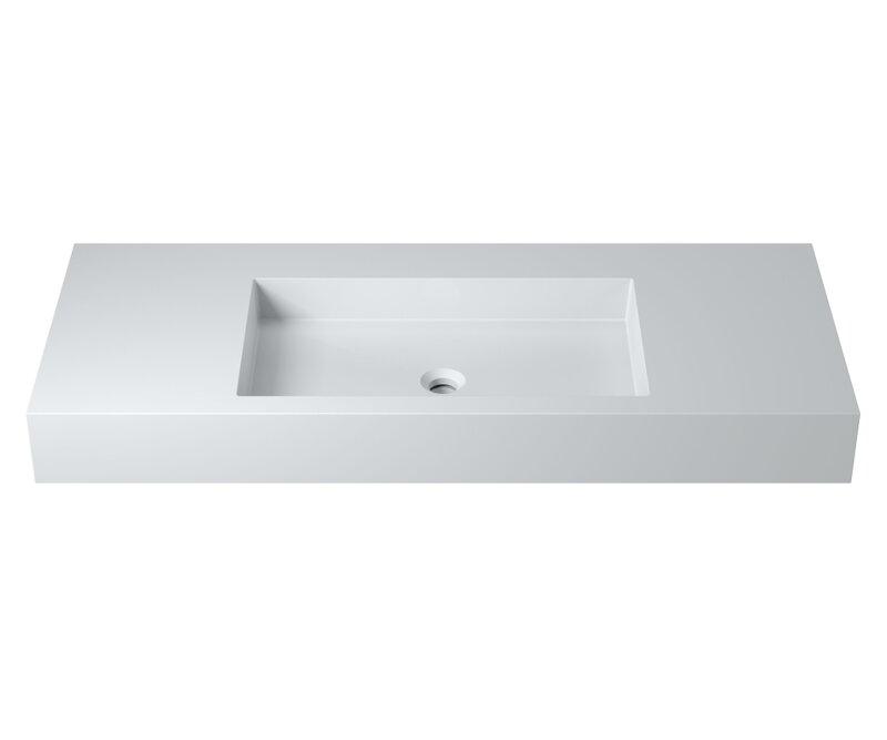 "Rectangular Stone 47"" Wall Mount Bathroom Sink"