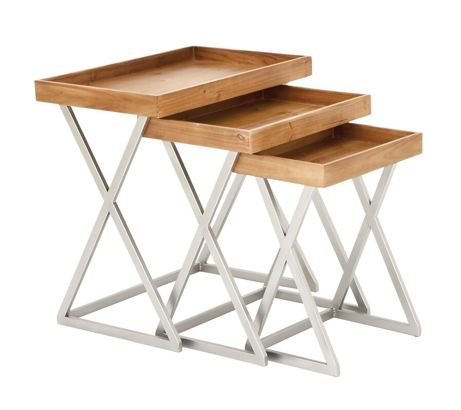 Charming 3 Piece Metal And Wood Tray Table Set