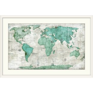World map framed art youll love wayfair world edward selkirk graphic art print gumiabroncs Image collections