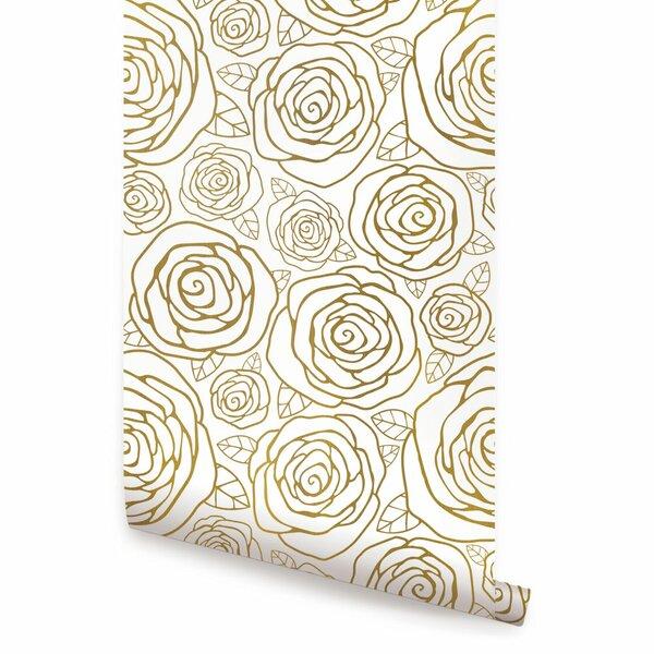 House Of Hampton Jhonson Gold Roses 4 L X 24 W And Stick Wallpaper Roll Wayfair