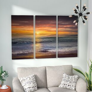 3 piece wall art youll love wayfair sundown descanso beach graphic art print multi piece image on wrapped canvas gumiabroncs