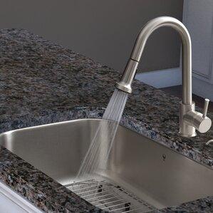 VIGO Harrison Single Handle Pull-Down Spray Kitchen Faucet with Deck Plate