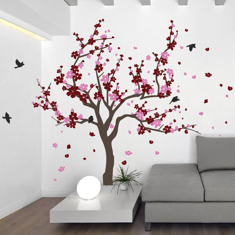 the decal guru japanese cherry tree wall decal & reviews | wayfair