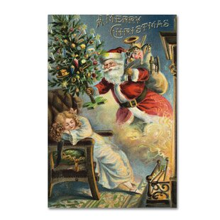 U0027Merry Christmas Santau0027 Wall Art On Wrapped Canvas