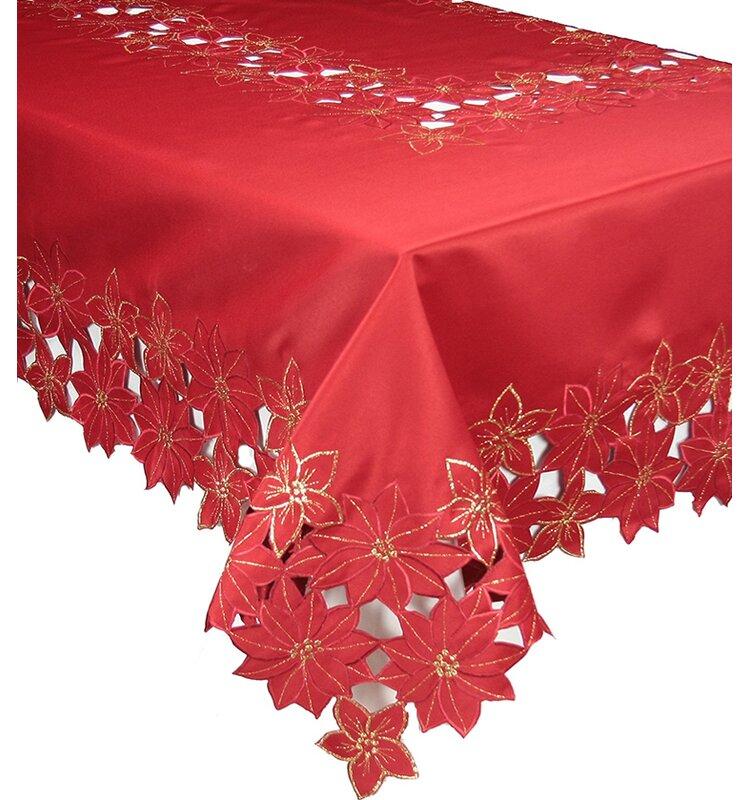Beau The Holiday Aisle Festive Poinsettia Embroidered Cutwork Christmas Table  Cloth   Wayfair