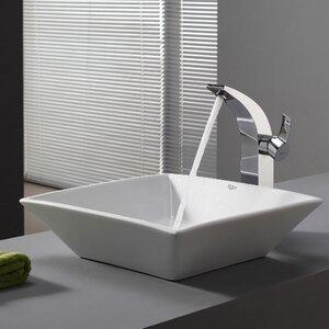 Ceramic Ceramic Square Vessel Bathroom Sink