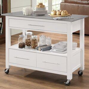 Monongah Rectangular Kitchen Cart with St..
