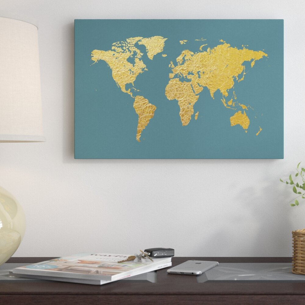 East urban home world map series gold foil on ocean blue graphic east urban home world map series gold foil on ocean blue graphic art on wrapped canvas reviews wayfair gumiabroncs Gallery