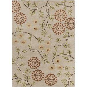 Boise Hand Tufted Rectangle Contemporary Cream/Orange Area Rug