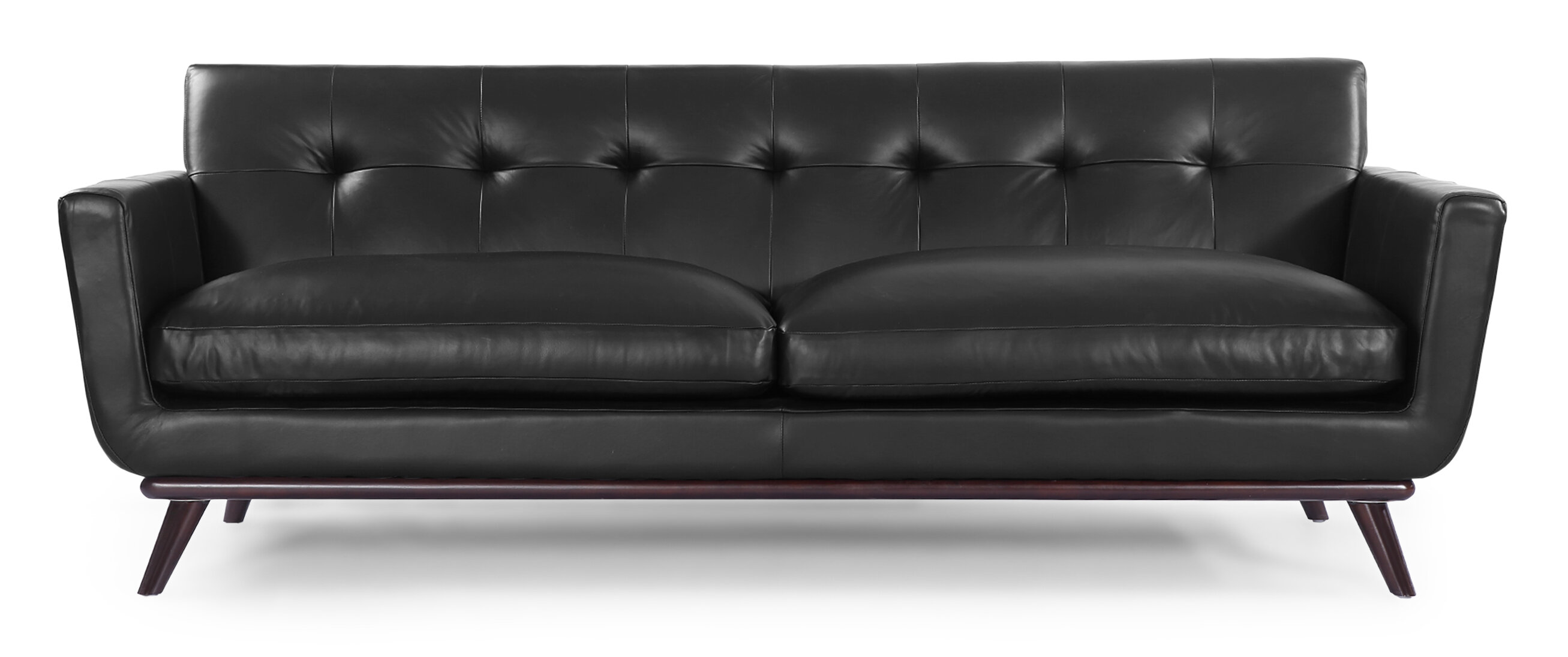 Corrigan Studio Luther Mid Century Modern Vintage Leather Sofa  ~ Vintage Black Leather Sofa