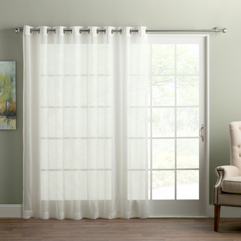 wayfair basics sliding door patio solid semi sheer grommet single curtain panel reviews. Black Bedroom Furniture Sets. Home Design Ideas