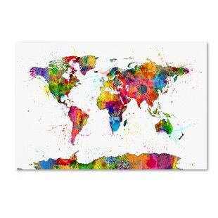 Modern Map Of The World.World Map Wall Art