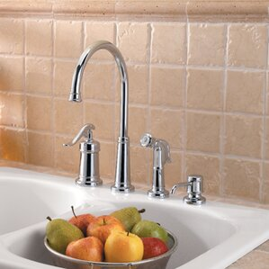 Pfister Ashfield Single Handle Deck Mounted Bar Faucet with Side Spray and Soap Dispenser