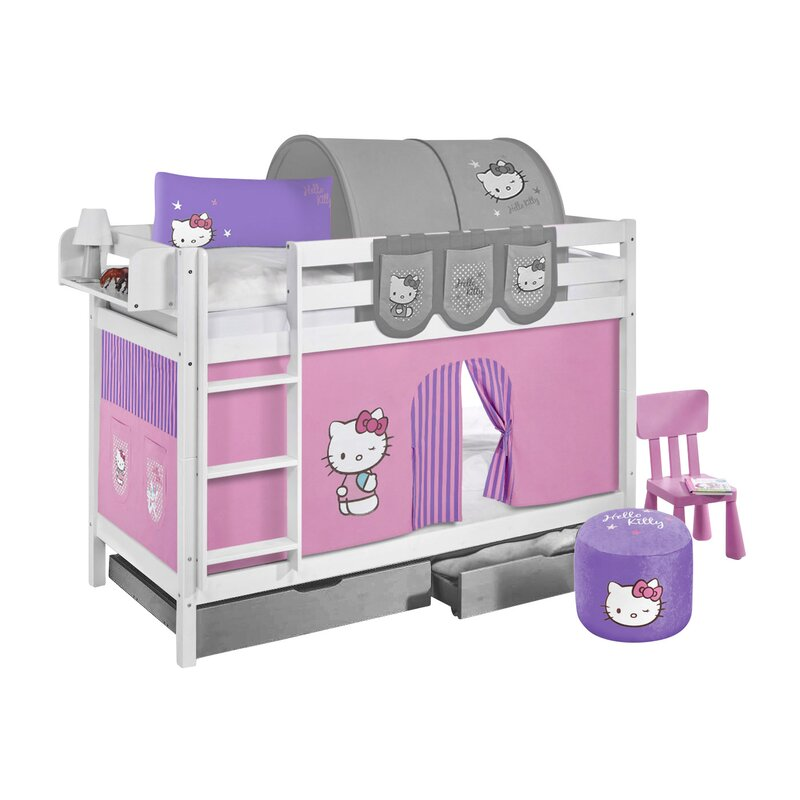 Lilokids Hello Kitty European Single Bunk Bed With Storage And