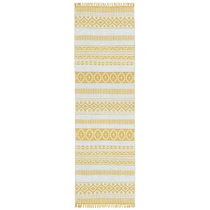 Complex Hand-Loomed Yellow Area Rug