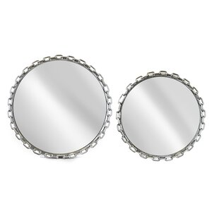 2 Piece Metal Mirrored Serving Tray Set