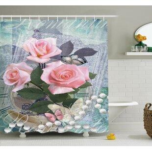 Floral Vintage Rose Romance Shower Curtain Set
