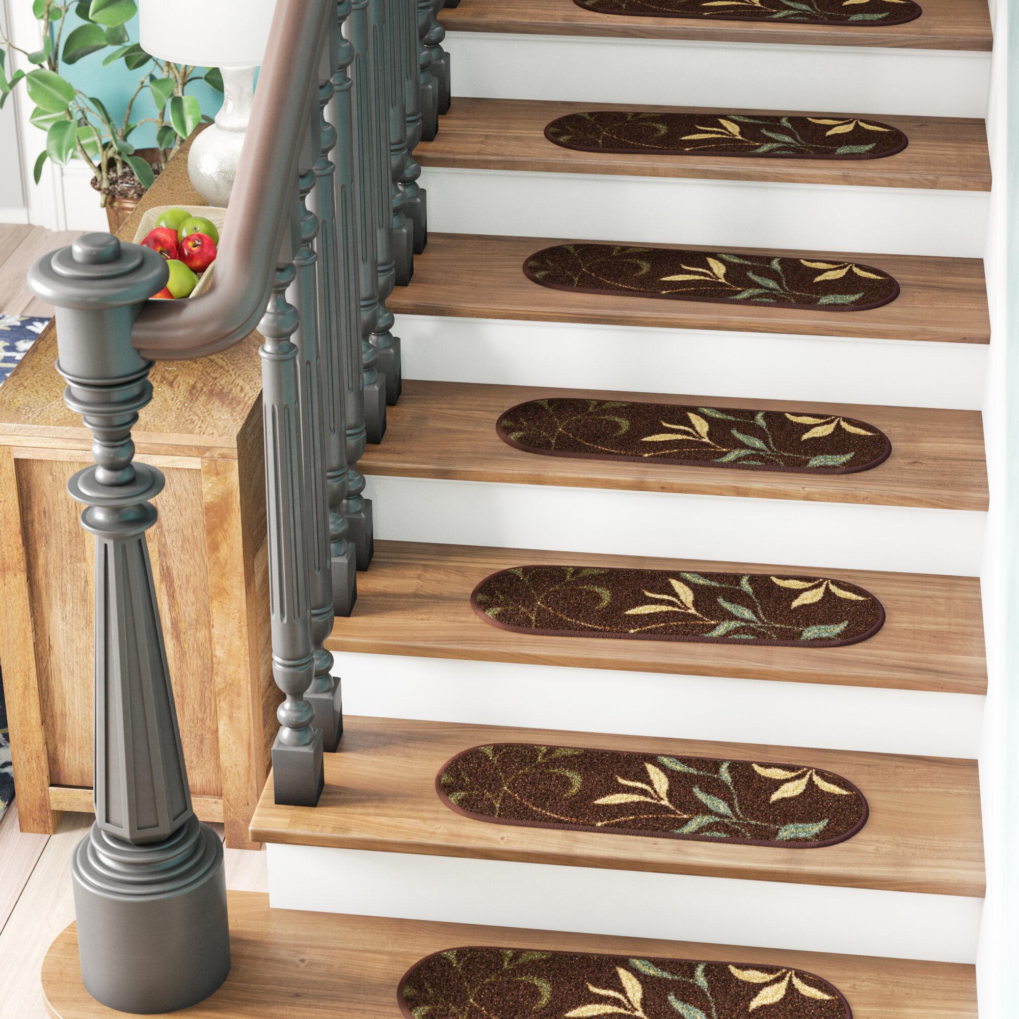 Andover Mills Galesburg Leaf Oval Brown/Beige Stair Tread U0026 Reviews |  Wayfair