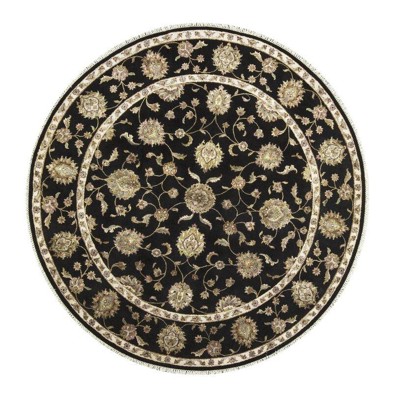Bokara Rug Co., Inc. One-of-a-Kind Dharma Handwoven Round 83 Wool/Silk Black/Beige Area Rug